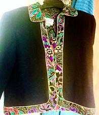 Vintage Clothing Designer Signed Black Colored Trim John Angelo Sweater Jacket M