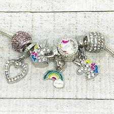 Unicorn Cloud Heart Rhinestone Dangle Charms European Bead fit Bracelet 7pc