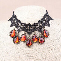 Vintage Style Black Lace Wine Ruby Red Gothic False Collar Choker Necklace N351