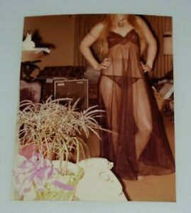 1977 Candid of faceles woman in  black lingerie   ~ Vintage Photograph