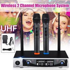 Dual Handheld Mikrofon UHF Funkmikrofon 2 Kanal Wireless Karaoke Mic