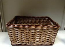 SMALL Woven Wood Wicker storage Organization Toy Laundry Basket Espresso 13x9x7