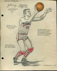 ORIGINAL 1943 JOHNNY KOTZ WISCONSIN BADGERS COLLEGE BASKETBALL DRAWING