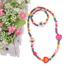 Children Jewelry Set 1 Set Cute Multicolor Wooden Beads Hearts Necklace Bracelet