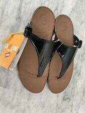 New Womens Fit Flop Super jelly Cork Black UK Size 8 Toe Thong Sandals.