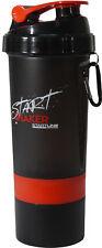 StartLine 600ml Gym Protein Shaker Bottle Black Red Sports Nutrition Supplement