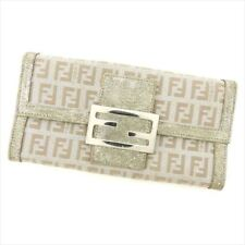 Fendi Wallet Purse Zucchino Canvas Leather Silver Woman Authentic Used T8334