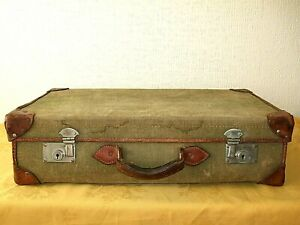 VINTAGE GREEN CANVAS & LEATHER MILITARY SUITCASE
