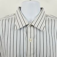 Robert Talbott Carmel Men's Black White Striped L/S Dress Button Shirt Sz XL USA
