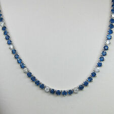 """39 Ct Round Diamond and Sapphire Women's Necklace 16"""" in 14K White Gold Finish"""
