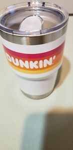 Dunkin Donuts Stainless Steel Travel Mug Tumbler 14 OZ White Hot Bevs Collector