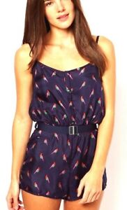 MARC JACOBS FINCH CHARM SILK BELTED ROMPER SWIM SHORTS COVER-UP BLUE $186 ❤NWT❤