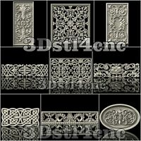 9 3D STL Models Decorative Screen for CNC Router Carving Machine Artcam aspire