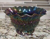 1950's L.E. Smith Daisy & Button Pattern Amethyst Carnival Glass Bowl