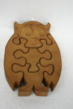 Vintage Wooden Owl Jig Saw Puzzle Hand Made with Carved Face