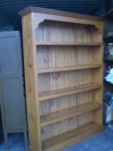 tall solid country  Pine 5 shelf bookcase shaped edges and feature top rustic