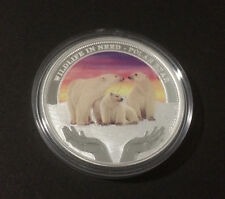 2012 $1 WILDLIFE IN NEED POLAR BEAR 1oz SILVER PROOF COLOURED COIN ONLY