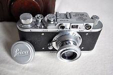 Leica II German Film Camera chrome f3.5/50mm with leather case (copy by fed)