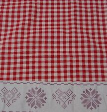 Red Gingam Christmas Table Runner With Snowflake Trim 180xm X 35cm