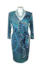 LEONA EDMISTON Dress - Vintage Style Geometric Deco Wrap Blue Green Stretch - 16
