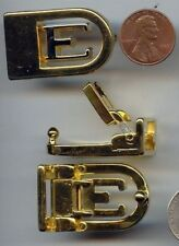 "1 VINTAGE GOLD SILVER PLATED ""E"" BELT BUCKLE S691"
