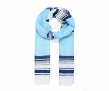 Blue Stripy Print Scarf Girls Silk Type Stylish Beautiful UK STOCK Pretty