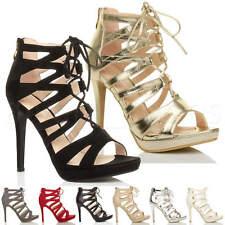 Donna tacco alto stringhe cerniera lampo aperte a punta sandali scarpe numero