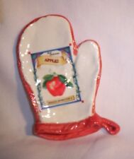Spoon Rest H174 42-OMSR Ceramic Oven Mitt w/Apples Spoon Rest