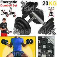 Fitness Cast Iron Dumbbell Set Home Weights Dumbbells 20KG GYM Workout With Case
