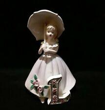 Vintage 1970s Josef Originals Figurine Girl Series Letter L Girl Rare Purple Htf