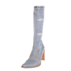 RRP €180 FRU.IT Denim Western Boots EU37 UK4 US7 Ripped Frayed Made in Italy