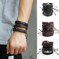 6pcs Men's Wrap Braided Leather Biker Punk Bracelet Wristband Buckle Cuff Bangle