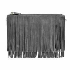 Mighty Purse Fringe X-Body Bag Grey Suede Leather With Cell Phone Charger