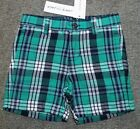 Janie and Jack Toddler Boys Green Plaid Shorts - Size 2T - NWT
