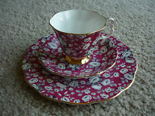ROYAL ALBERT CHINTZ TRIO/ MAGENTA, GRAY, WHITE/ GORGEOUS!