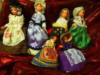 lot les 6 poupées folklo cellulo des ans 50-60 t b état