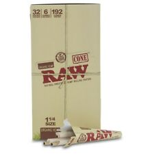 """RAW Organic Hemp Pre-Rolled Cones 1 1/4"""" Rolling Papers Box 32 Packs 192 Cones"""