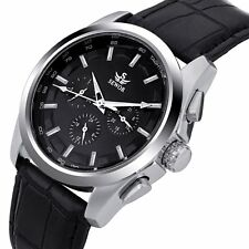 Classic Leather Date Analog Automatic Mechanical Sport Mens Skeleton Wrist Watch