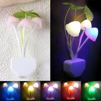 Creative Romantic Colorful Sensor LED Mushroom Night Light Wall Lamp Home Decor