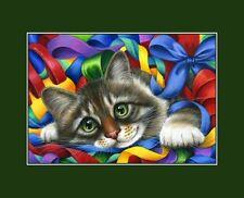 Gato atigrado ACEO Cintas Y Moños De Impresión me garmashova