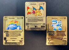 Charizard Blastoise Venusaur Trio Pokemon Card Base Set 1st Edition Gold #2/4/15