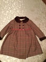 Little Bitty dress Girls Size 2T  brown &  pink plaid Holiday