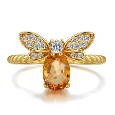 Cute Little Bee Vintage Topaz CZ Adjustable Rings Gold Filled Engagement Jewelry