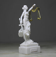 Themis Greek Roman Blind Goddess of Justice Law Statue Alabaster Handmade 5.5""