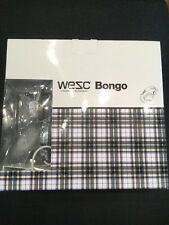 WESC Bongo On Ear Headphones White Blue Grey Checked iPhone Brand New In Box