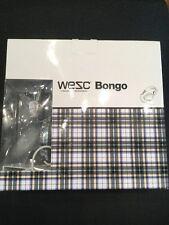 WESC Bongo On Ear Headphones White Blue Grey Checked iPhone Brand New In Box