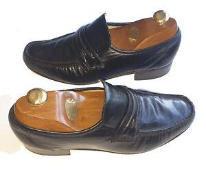 Men's GRENSON 1866 Premium BENCH MADE True Black Leather Moccasins UK Size 7.5