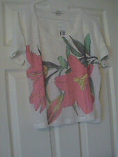 NWT FOREVER 21 CREAM SHORT SLEEVE CROP SHIRT WITH RED FLORAL DESIGN
