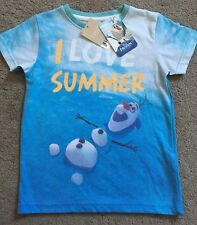 New Next Blue Olaf Frozen Short Sleeve T-shirt 2-3 Years Old