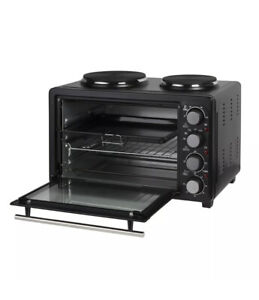 28L Electric Mini Toaster Oven & Grill Rotisserie Compact Cooker With Hot Plates